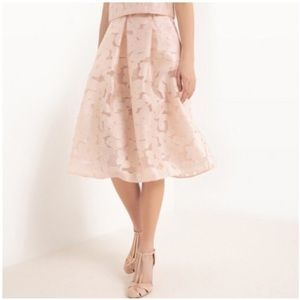 Zara Skirts - Pink Midi Floral Skirt, New With Tags